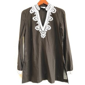 LOFT brown embroidered brown tunic top